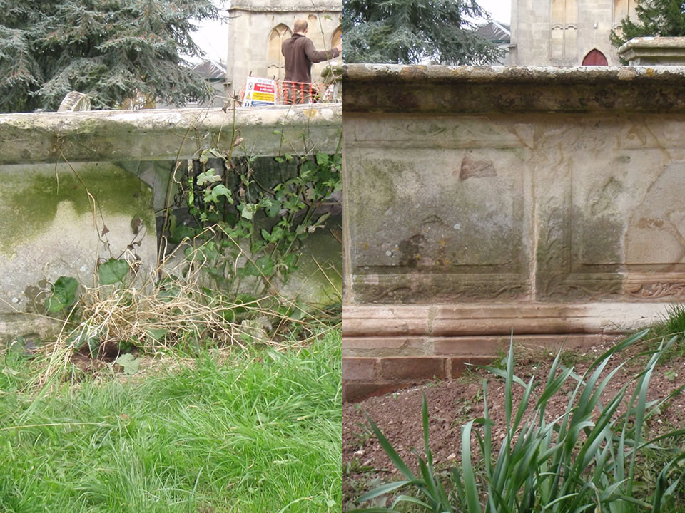 Rebuilding of a near-collapsed late 17th century chest tomb at St. Mary's Church, Berkeley, Gloucestershire.